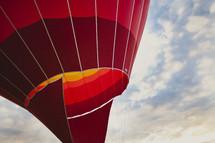 A closeup of a red hot air balloon