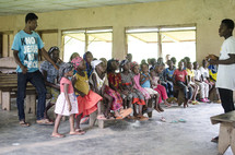 village children at a worship service