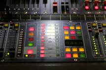 lights on a sound board