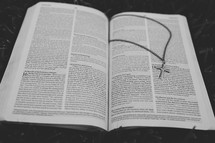 open Bible and a cross necklace
