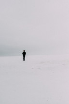 man standing alone in snow