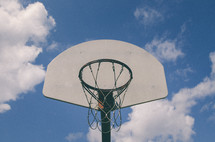 basketball hoop and net and blue sky