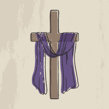 purple shroud on a cross