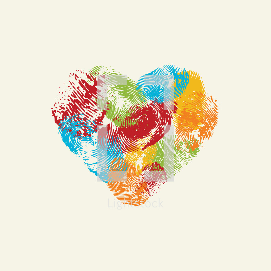 colorful vector heart made of fingerprints.