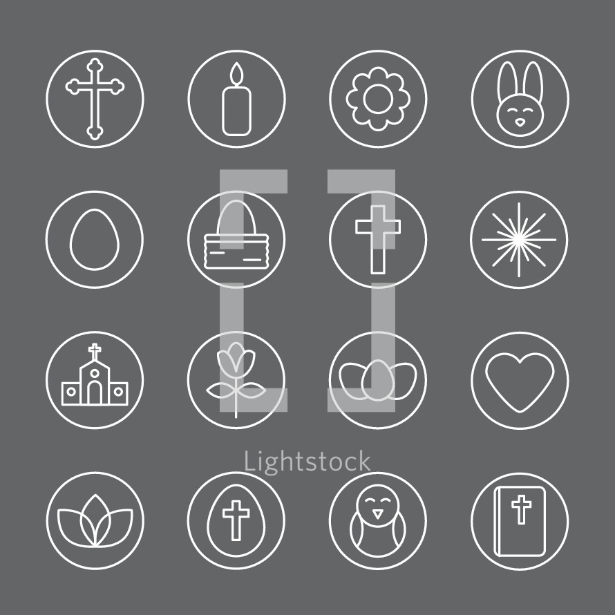 Simple line icons for Easter: cross, church, Bible, egg, flower, heart, bunny, bird, candle, basket, resurrection life.