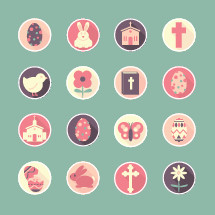 Easter icons, icon set, Easter, easter egg, egg, bunny, rabbit, cross, flower, butterfly, church, chick, baby chicken, bible