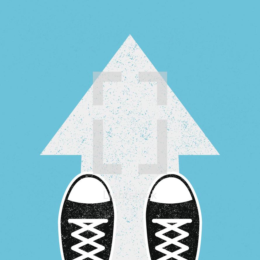 shoes on an arrow