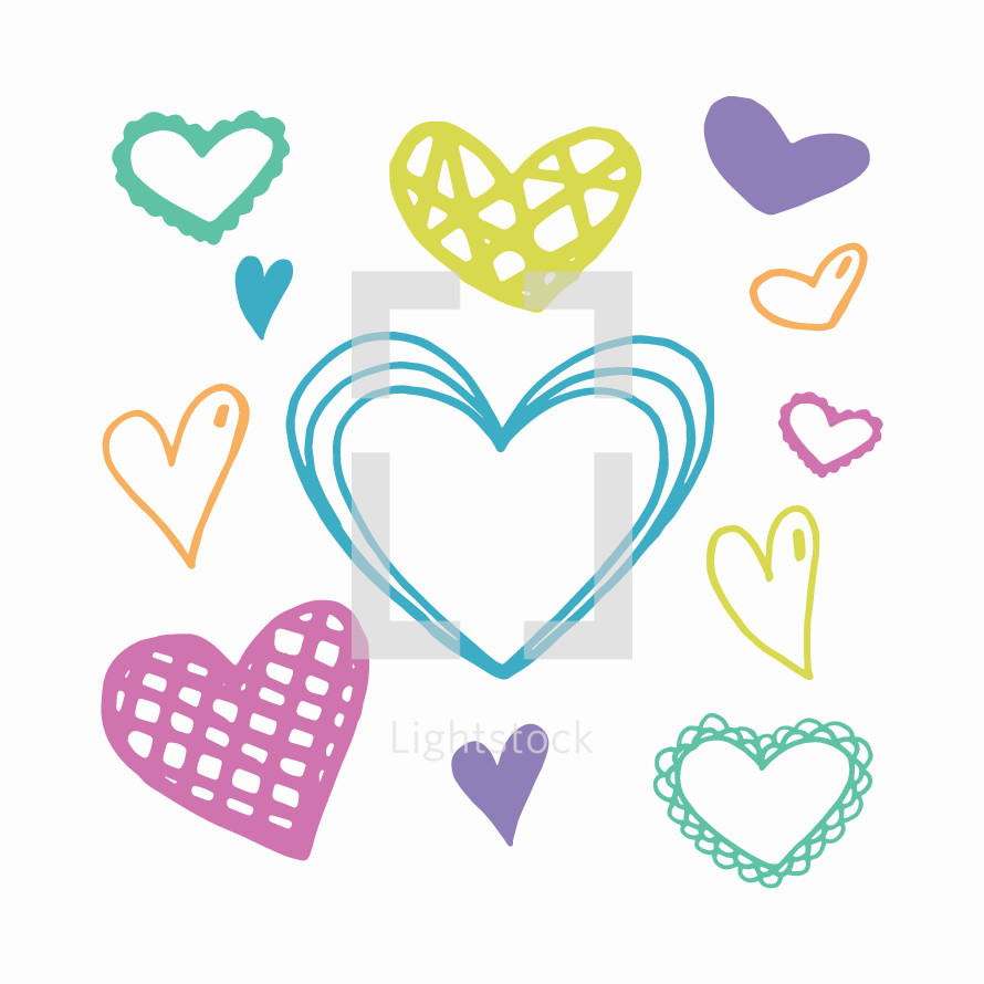 hand drawn pastel hearts