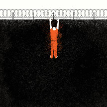 illustration of prisoner trying to break out.