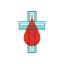 illustration of cross with blood drop overlaid.