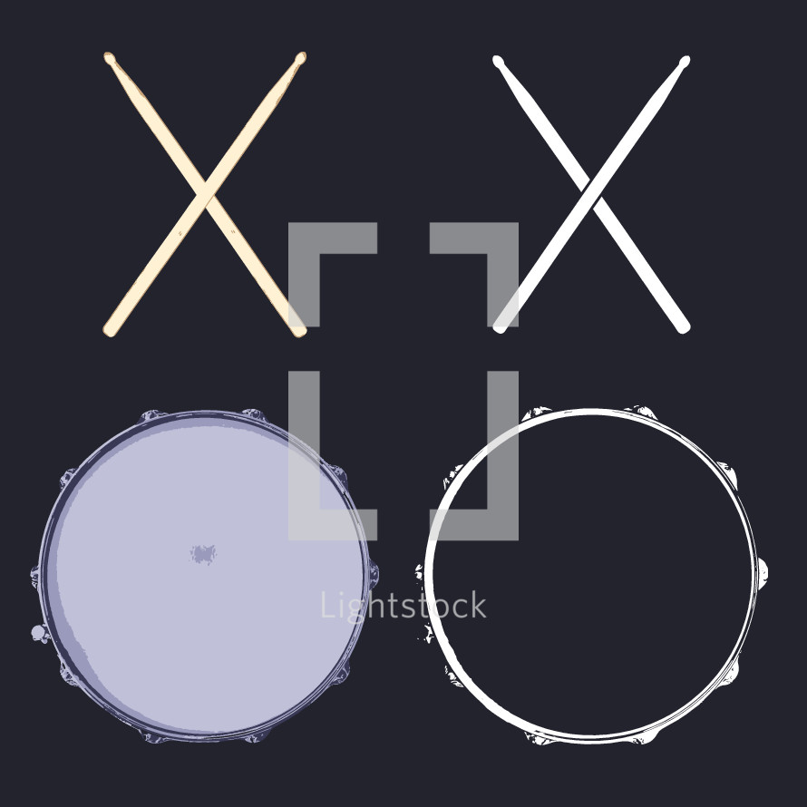 snare drums and drum sticks