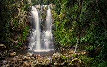 Waterfall in a tropical forest.