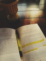 highlighted pages of a book