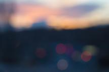 bokeh lights at dusk