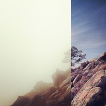 split image of lifting fog