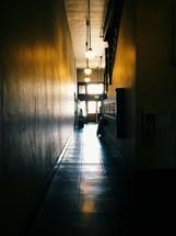 down a restaurant hallway