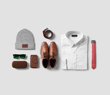 men's work clothes laid flat