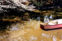 canoe in shallow water