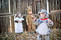 toddlers dressed as manger animals in a Christmas pageant