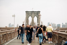 pedestrians on the Brooklyn bridge