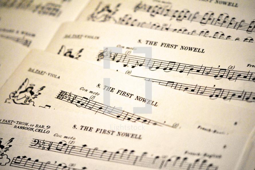 Instrumental sheet music for Christmas carols.