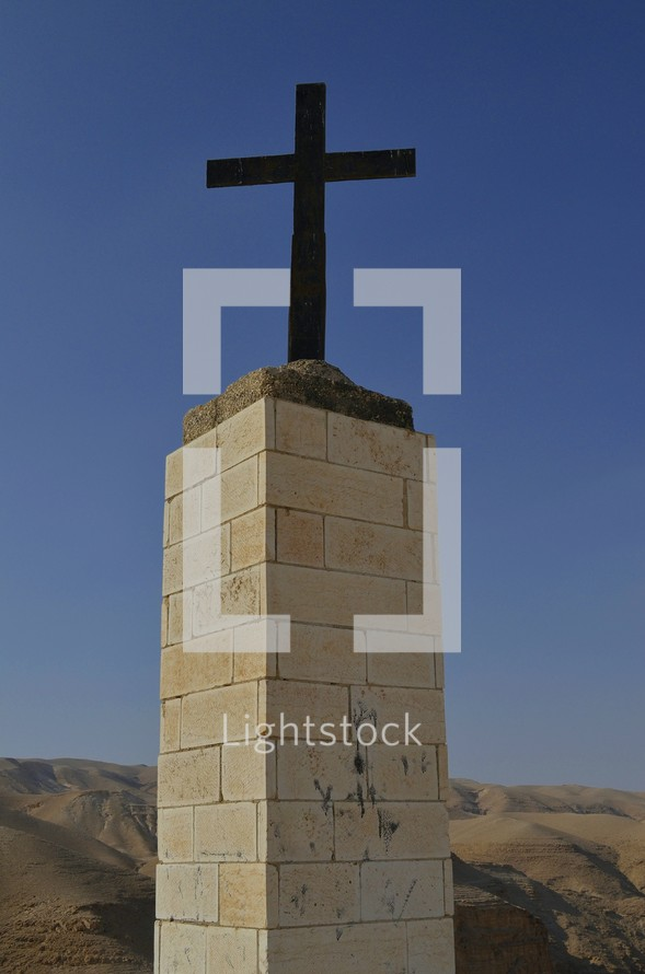 Christian monument on the wilderness hills