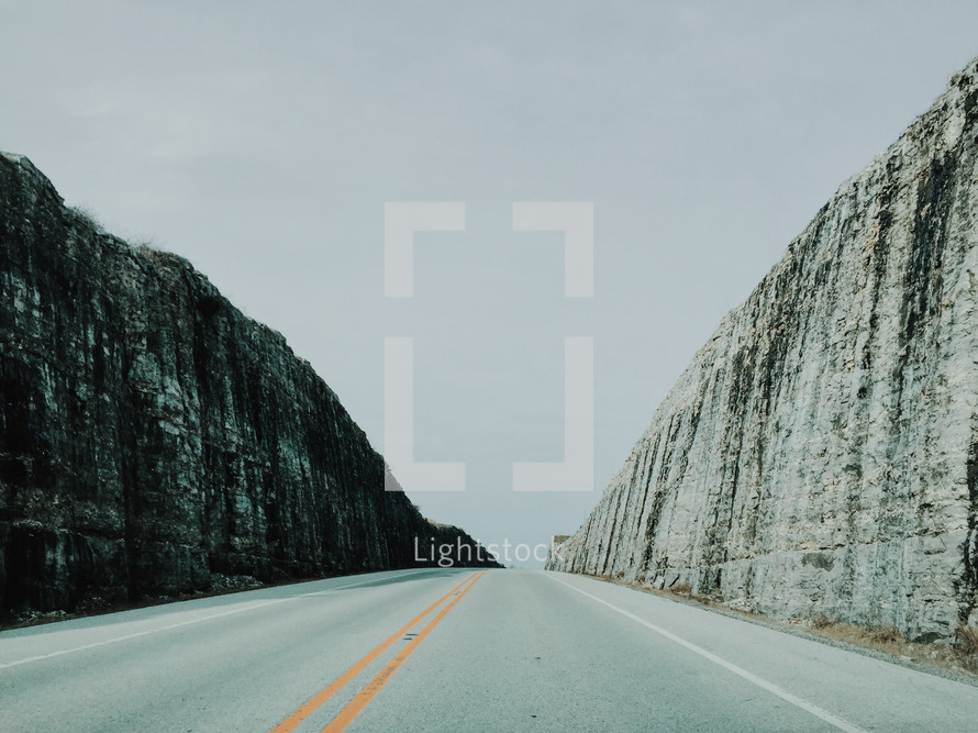road cut into a mountainside