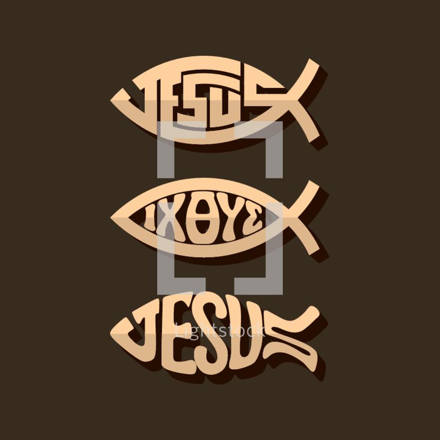 Jesus fish wooden icons