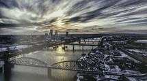 downtown bridges at sunrise