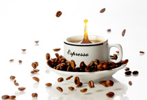 splash of coffee and falling beans