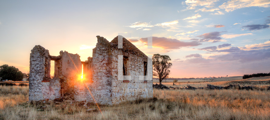old church ruins and a sunburst - the spirit of the church still shines