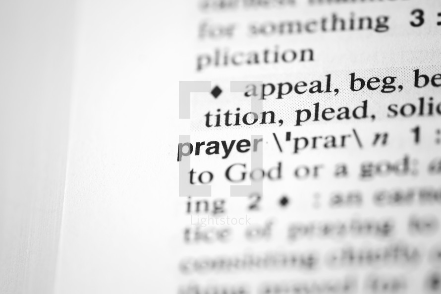 word prayer on the pages of a dictionary