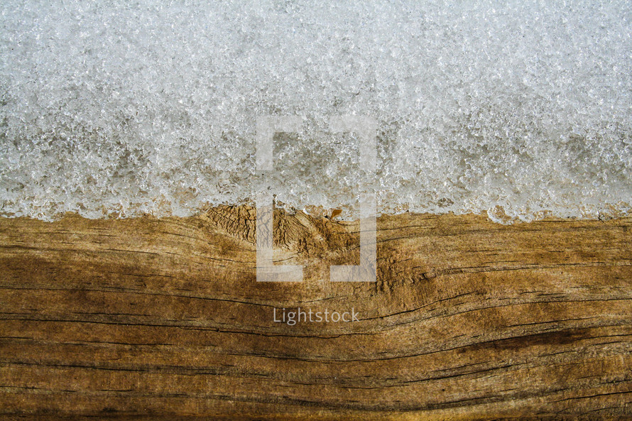 snow on wood