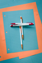 colorful, lined paper, mechanical pencils, erasers, cross, Christian School, back to school, church school, notebook paper, paper