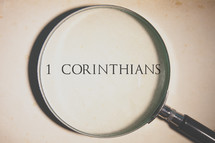 magnifying glass over 1 Corinthians