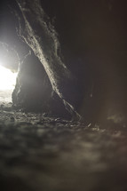 light at the entrance of a cave