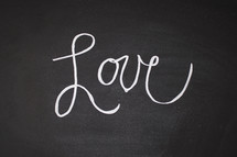 word Love on a chalkboard