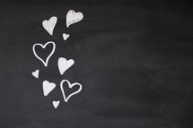 hearts on a chalkboard