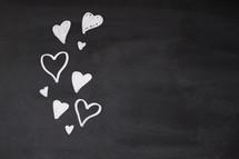 hearts on a chalkboard