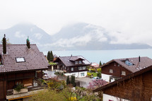 rooftops of homes along a shore in Switzerland