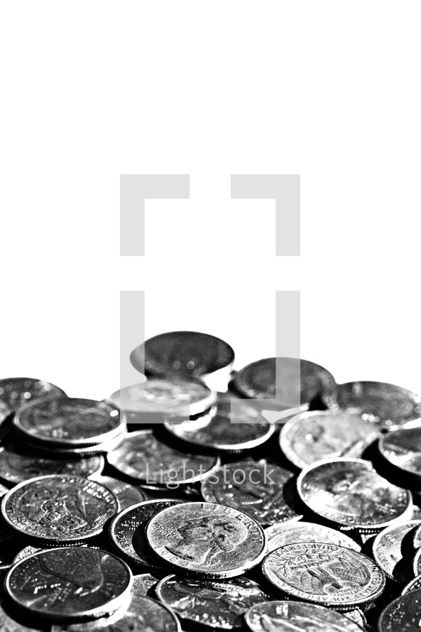A buch of quarters isolated on white