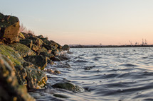 rocky shore and water