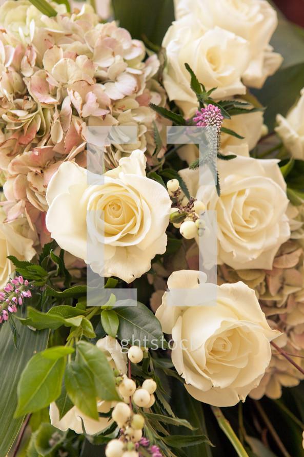 Roses in a flower arrangement