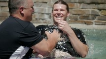 dunking at a baptism