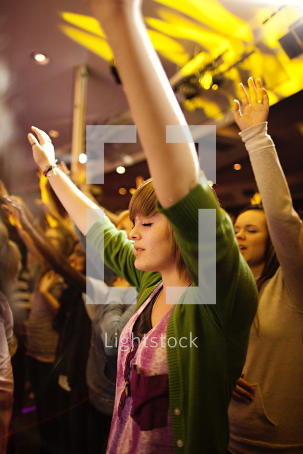 Arms raised in worship