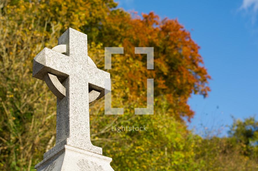 War memorial of cross carved from granite