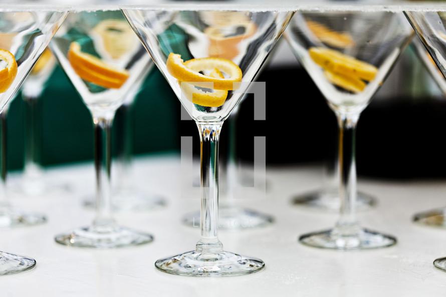 Orange peel in martini glasses