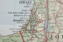 Map of Israel and Jordan