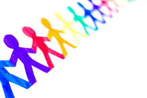 rainbow of paper dolls