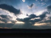 Sunburst in the clouds.